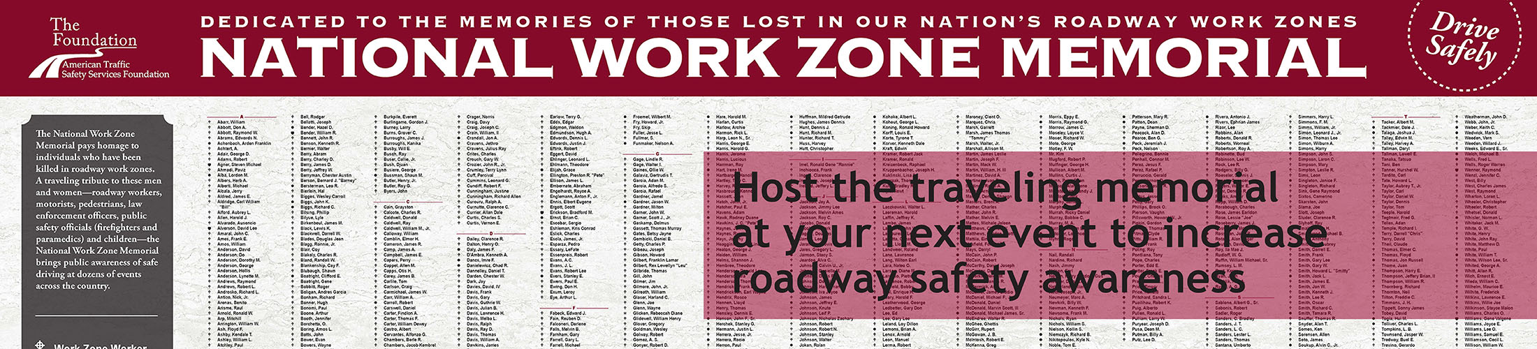 Host the National Work Zone Memorial
